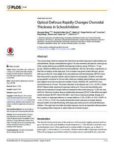 Optical Defocus Rapidly Changes Choroidal Thickness in ... - PLOS