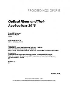 Optical Fibers and Their Applications 2015