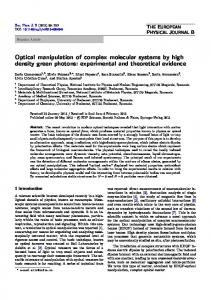 Optical manipulation of complex molecular systems by ... - Springer Link