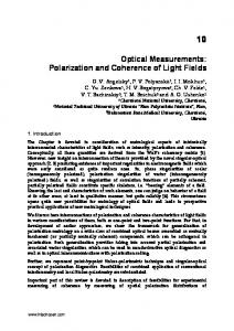 Optical Measurements: Polarization and Coherence of ... - InTechOpen