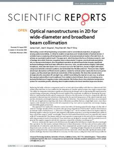 Optical nanostructures in 2D for wide-diameter and broadband beam