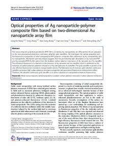 Optical properties of Ag nanoparticle-polymer ... - BioMedSearch