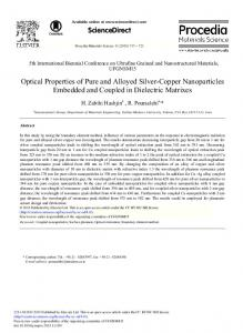 Optical Properties of Pure and Alloyed Silver-Copper Nanoparticles