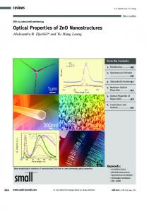 Optical Properties of ZnO Nanostructures