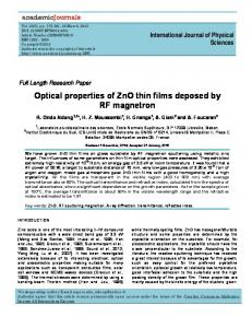 Optical properties of ZnO thin films deposed by ... - Academic Journals