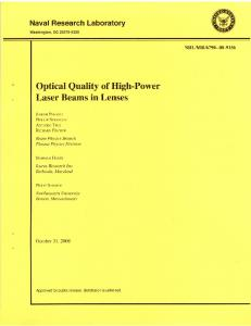 Optical Quality of High-Power Laser Beams in Lenses - CiteSeerX