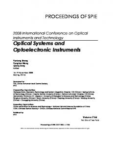 Optical Systems and Optoelectronic Instruments