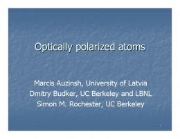 Optically polarized atoms - UC Berkeley