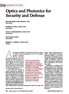 Optics and Photonics for Security and Defense - IEEE Xplore