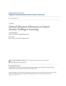 Optimal Allocation of Resources in Airport Security ... - Semantic Scholar