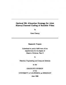 Optimal Bit Allocation Strategy for Joint Source