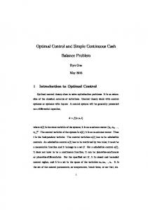 Optimal Control and Simple Continuous Cash ...