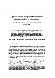 Optimal control design for the nonlinear manoeuvrability of a submarine