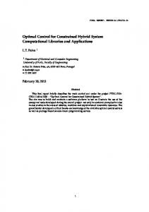 Optimal Control for Constrained Hybrid System Computational ...