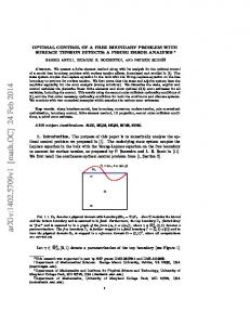 OPTIMAL CONTROL OF A FREE BOUNDARY PROBLEM WITH ...