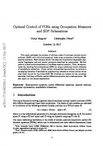 Optimal Control of PDEs using Occupation Measures and SDP