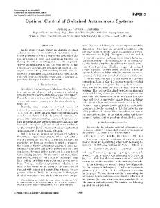 Optimal Control of Switched Autonomous Systems