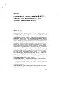 Optimal control problems described by PDEs