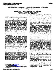 Optimal Control Synthesis of a Class of Nonlinear ... - Semantic Scholar