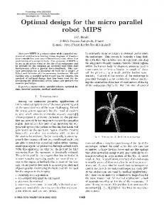 Optimal Design for the Micro Parallel Robot MIPS