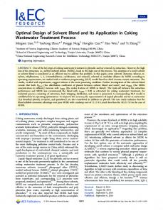 Optimal Design of Solvent Blend and Its Application in Coking ...