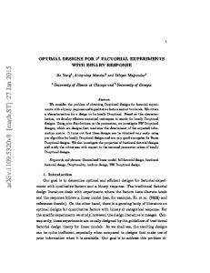 Optimal Designs for 2^ k Factorial Experiments with Binary Response