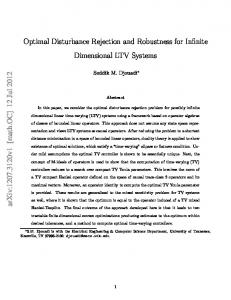 Optimal Disturbance Rejection and Robustness for Infinite