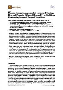 Optimal Energy Management of Combined Cooling, Heat and ... - MDPI
