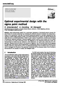 Optimal experimental design with the sigma point method - IEEE Xplore