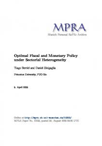 Optimal Fiscal and Monetary Policy under Sectorial Heterogeneity