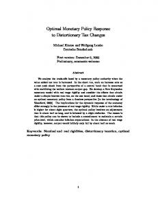 Optimal Monetary Policy Response to Distortionary Tax Changes - Core
