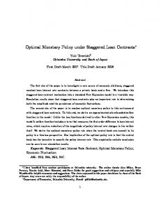 Optimal Monetary Policy under Staggered Loan ...