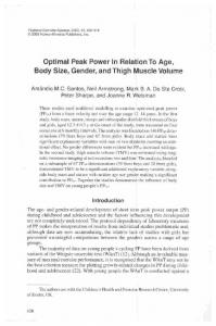Optimal Peak Power In Relation To Age, Body Size ...