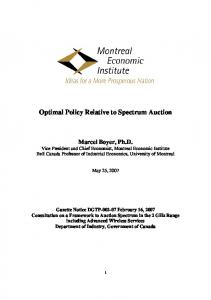 Optimal Policy Relative to Spectrum Auction - CiteSeerX