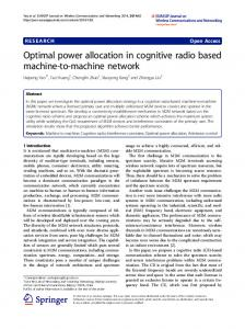 Optimal power allocation in cognitive radio based machine-to ... - Core