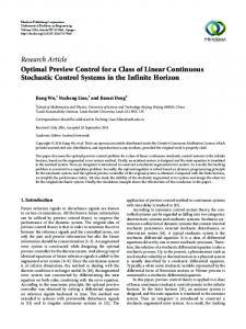 Optimal Preview Control for a Class of Linear Continuous Stochastic