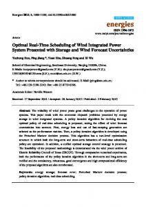 Optimal Real-Time Scheduling of Wind Integrated Power ... - MDPI