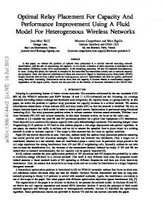 Optimal Relay Placement For Capacity And ... - Semantic Scholar