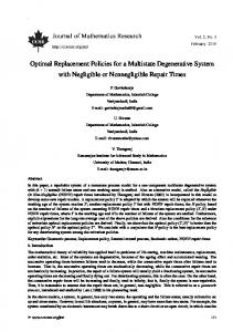 Optimal Replacement Policies for a Multistate ... - Semantic Scholar