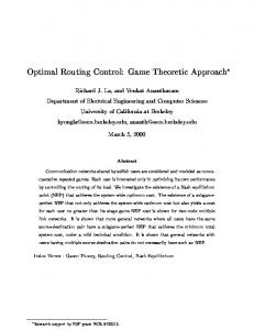 Optimal Routing Control: Game Theoretic Approach - Semantic Scholar