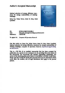 Optimal selection of energy efficiency measures for ...