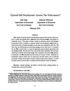 Optimal Self-Employment Income Tax Enforcement - Columbia ...