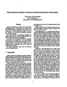 Optimal Solution Stability in Dynamic, Distributed ... - CiteSeerX