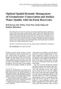 Optimal Spatial-Dynamic Management of ... - AgEcon Search