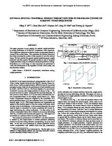 OPTIMAL SPATIAL-TEMPORAL WEIGHT PREDICTION FOR INTER ...