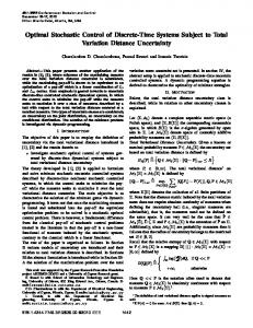 Optimal Stochastic Control of Discrete-Time Systems ... - IEEE Xplore