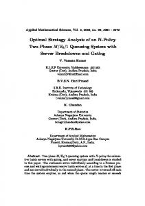 Optimal Strategy Analysis of an N-Policy Two ... - Semantic Scholar