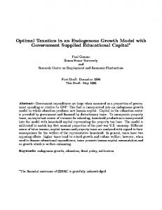 Optimal Taxation in an Endogenous Growth Model with ... - CiteSeerX