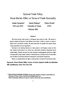 Optimal Trade Policy - European Trade Study Group