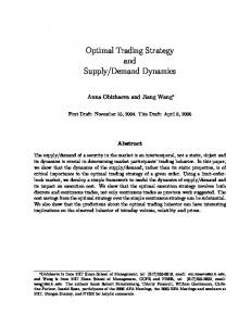 Optimal Trading Strategy and Supply/Demand Dynamics - MIT